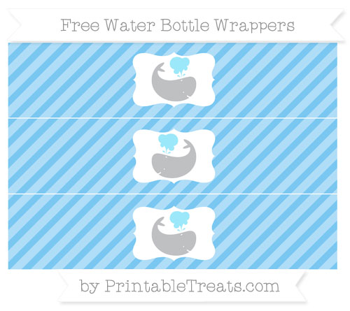 Free Pastel Light Blue Diagonal Striped Whale Water Bottle Wrappers