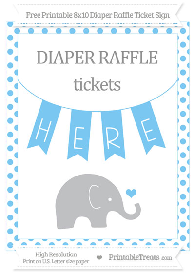 Free Pastel Light Blue Dotted Baby Elephant 8x10 Diaper Raffle Ticket Sign