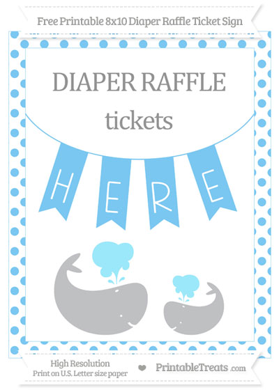 Free Pastel Light Blue Dotted Baby Whale 8x10 Diaper Raffle Ticket Sign