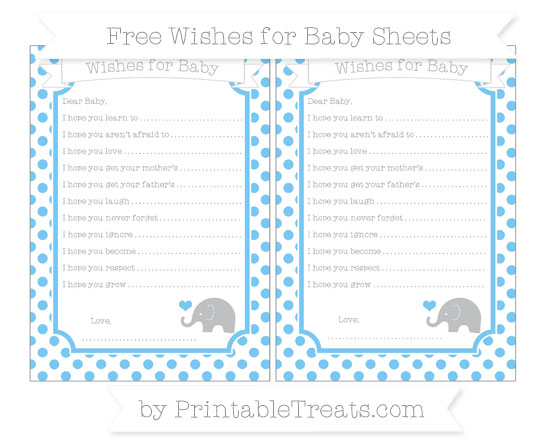 Free Pastel Light Blue Dotted Pattern Baby Elephant Wishes for Baby Sheets
