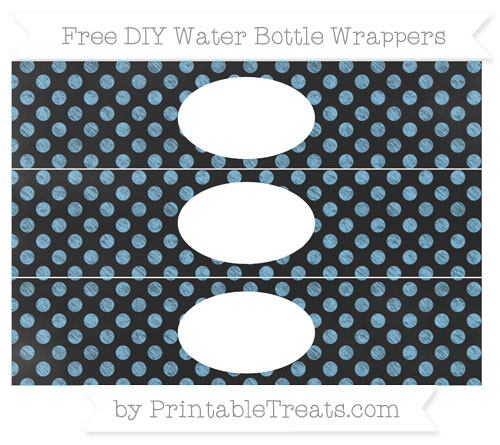 Free Pastel Light Blue Dotted Pattern Chalk Style DIY Water Bottle Wrappers