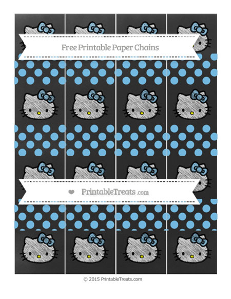 Free Pastel Light Blue Dotted Pattern Chalk Style Hello Kitty Paper Chains