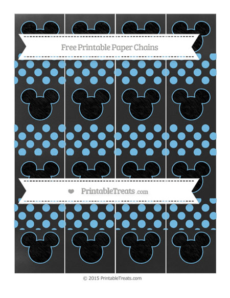 Free Pastel Light Blue Dotted Pattern Chalk Style Mickey Mouse Paper Chains