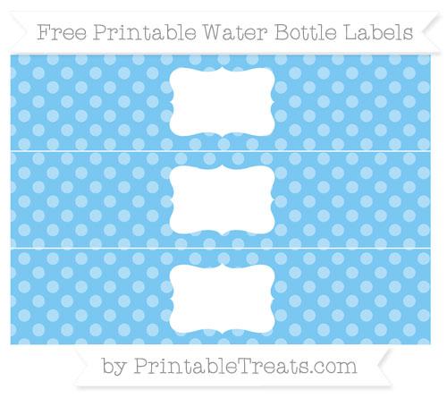Free Pastel Light Blue Dotted Pattern Water Bottle Labels