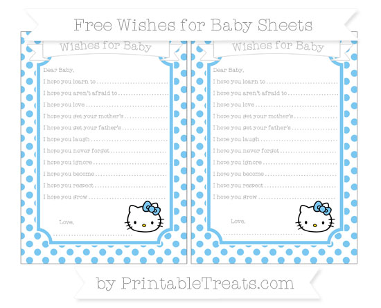 Free Pastel Light Blue Dotted Pattern Hello Kitty Wishes for Baby Sheets