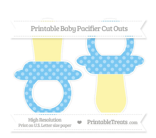 Free Pastel Light Blue Dotted Pattern Large Baby Pacifier Cut Outs