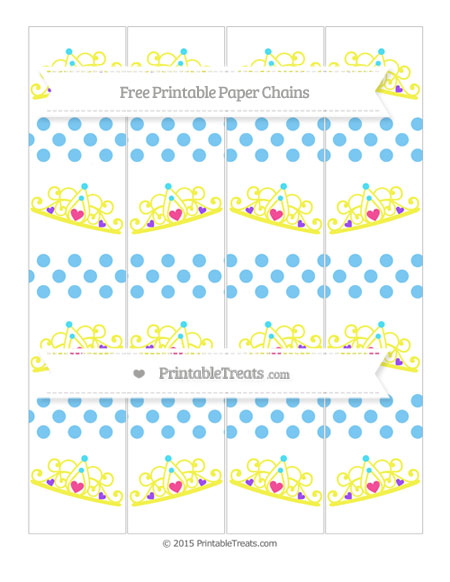 Free Pastel Light Blue Dotted Pattern Princess Tiara Paper Chains
