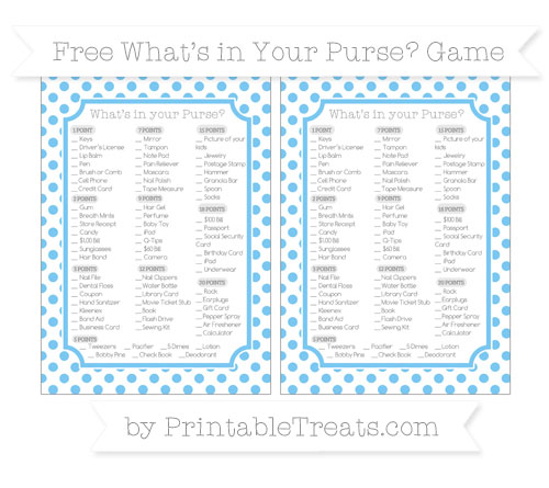 Free Pastel Light Blue Dotted Pattern What's in Your Purse Baby Shower Game