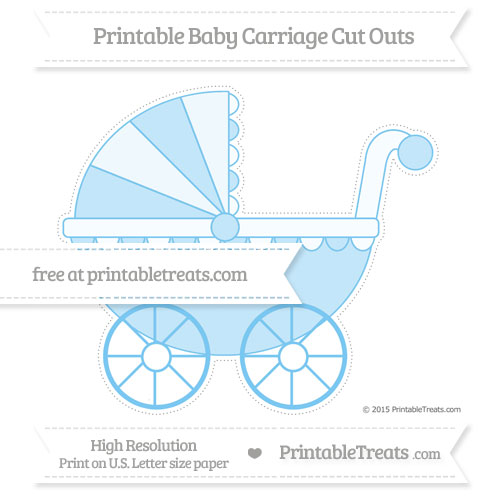 Free Pastel Light Blue Extra Large Baby Carriage Cut Outs