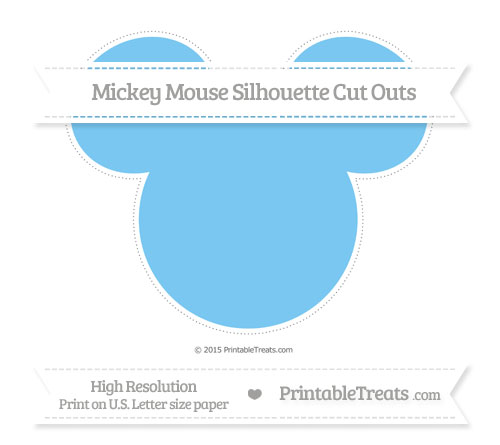 Free Pastel Light Blue Extra Large Mickey Mouse Silhouette Cut Outs