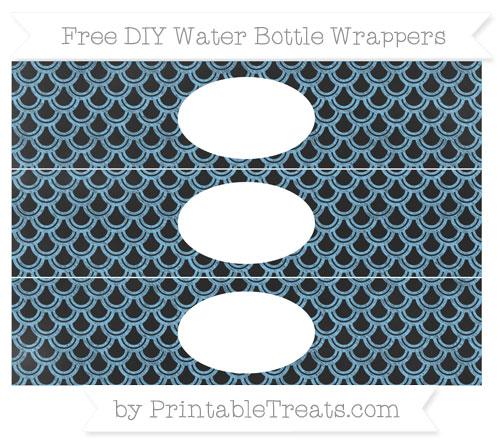 Free Pastel Light Blue Fish Scale Pattern Chalk Style DIY Water Bottle Wrappers