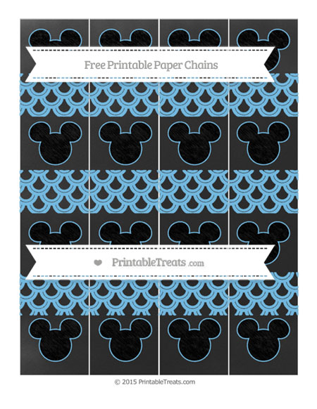 Free Pastel Light Blue Fish Scale Pattern Chalk Style Mickey Mouse Paper Chains