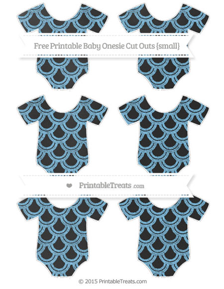 Free Pastel Light Blue Fish Scale Pattern Chalk Style Small Baby Onesie Cut Outs