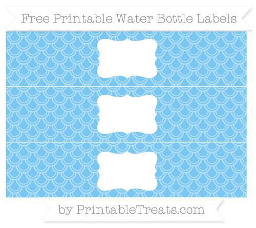 Free Pastel Light Blue Fish Scale Pattern Water Bottle Labels