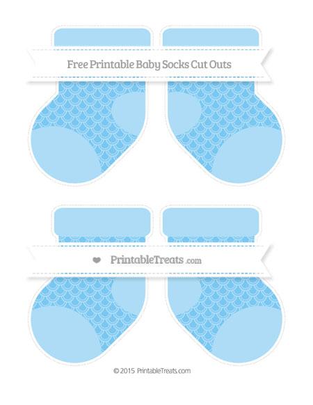 Free Pastel Light Blue Fish Scale Pattern Medium Baby Socks Cut Outs