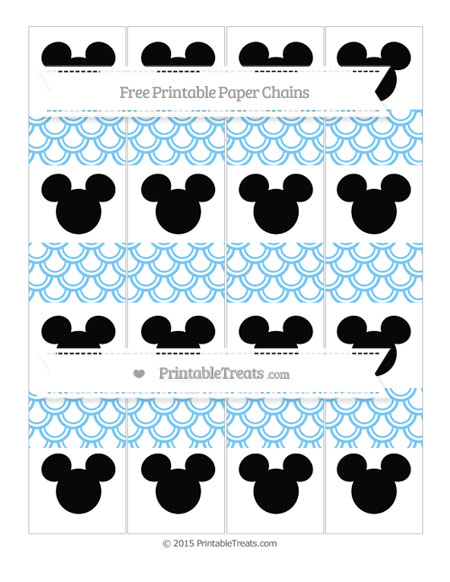 Free Pastel Light Blue Fish Scale Pattern Mickey Mouse Paper Chains