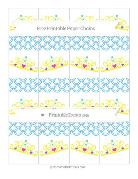Free Pastel Light Blue Fish Scale Pattern Princess Tiara Paper Chains