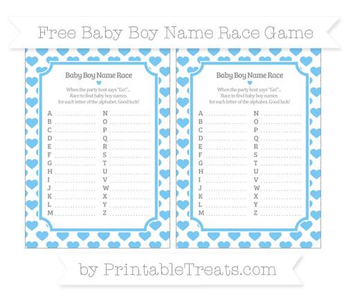 Free Pastel Light Blue Heart Pattern Baby Boy Name Race Game