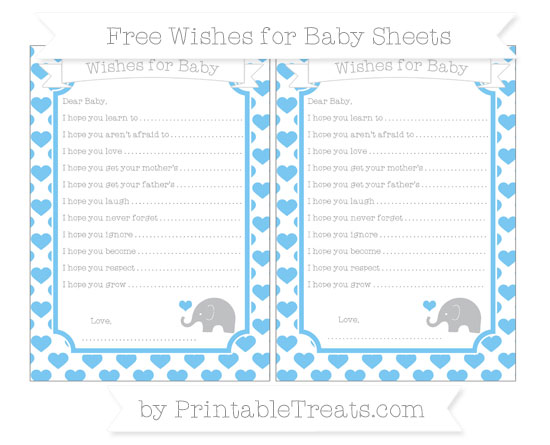 Free Pastel Light Blue Heart Pattern Baby Elephant Wishes for Baby Sheets