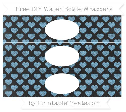 Free Pastel Light Blue Heart Pattern Chalk Style DIY Water Bottle Wrappers