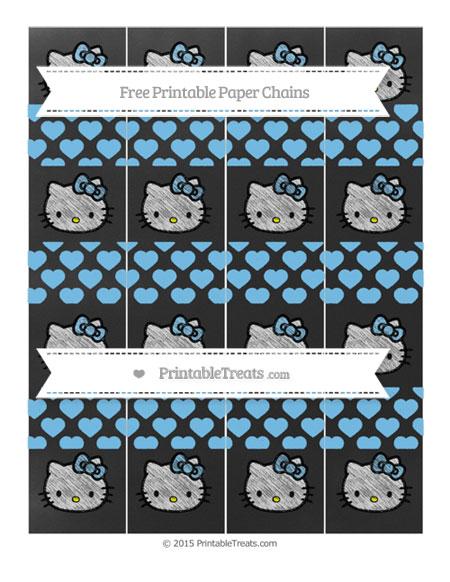 Free Pastel Light Blue Heart Pattern Chalk Style Hello Kitty Paper Chains