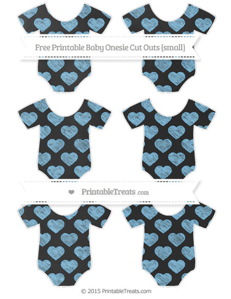 Free Pastel Light Blue Heart Pattern Chalk Style Small Baby Onesie Cut Outs