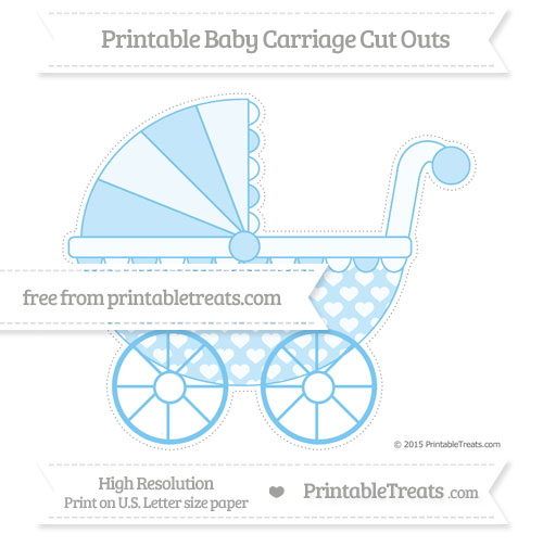 Free Pastel Light Blue Heart Pattern Extra Large Baby Carriage Cut Outs