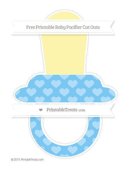 Free Pastel Light Blue Heart Pattern Extra Large Baby Pacifier Cut Outs