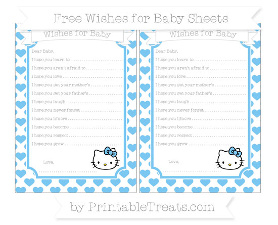 Free Pastel Light Blue Heart Pattern Hello Kitty Wishes for Baby Sheets
