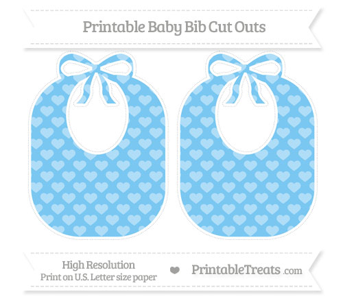 Free Pastel Light Blue Heart Pattern Large Baby Bib Cut Outs