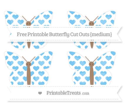Free Pastel Light Blue Heart Pattern Medium Butterfly Cut Outs