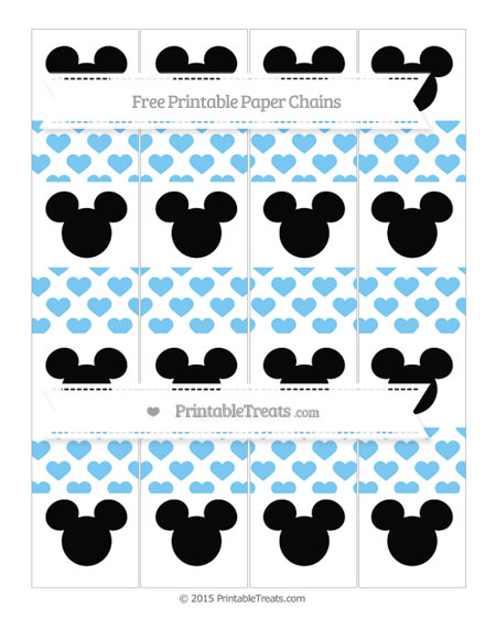 Free Pastel Light Blue Heart Pattern Mickey Mouse Paper Chains