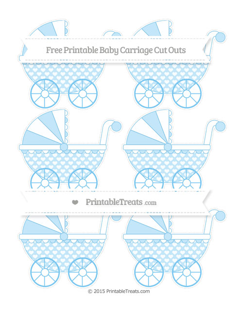 Free Pastel Light Blue Heart Pattern Small Baby Carriage Cut Outs