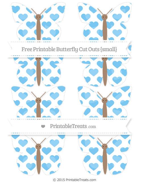 Free Pastel Light Blue Heart Pattern Small Butterfly Cut Outs