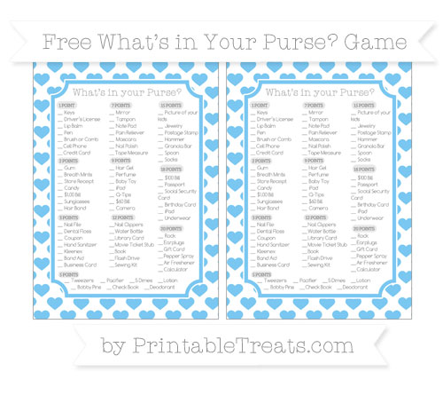 Free Pastel Light Blue Heart Pattern What's in Your Purse Baby Shower Game