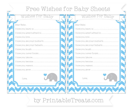 Free Pastel Light Blue Herringbone Pattern Baby Elephant Wishes for Baby Sheets