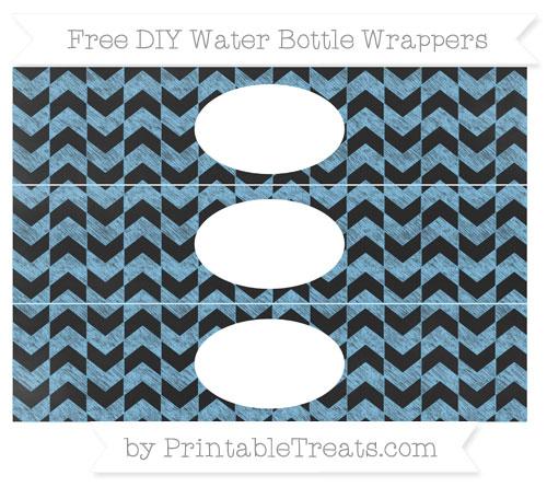 Free Pastel Light Blue Herringbone Pattern Chalk Style DIY Water Bottle Wrappers