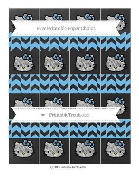 Free Pastel Light Blue Herringbone Pattern Chalk Style Hello Kitty Paper Chains