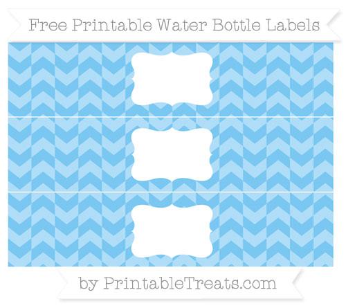 Free Pastel Light Blue Herringbone Pattern Water Bottle Labels