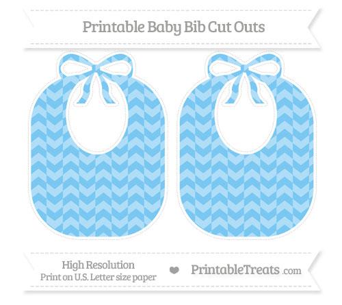 Free Pastel Light Blue Herringbone Pattern Large Baby Bib Cut Outs