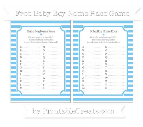 Free Pastel Light Blue Horizontal Striped Baby Boy Name Race Game