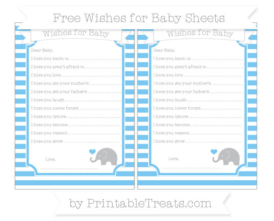 Free Pastel Light Blue Horizontal Striped Baby Elephant Wishes for Baby Sheets