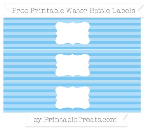 Free Pastel Light Blue Horizontal Striped Water Bottle Labels