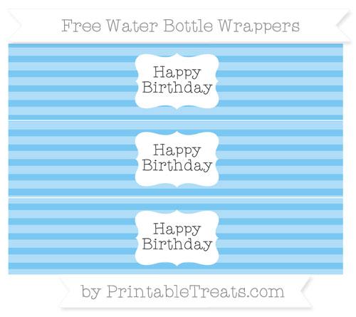 Free Pastel Light Blue Horizontal Striped Happy Birhtday Water Bottle Wrappers