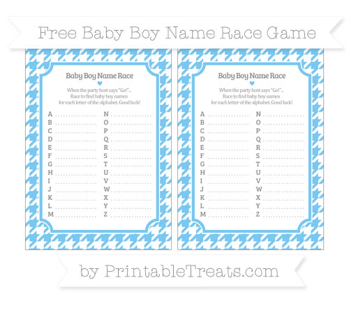 Free Pastel Light Blue Houndstooth Pattern Baby Boy Name Race Game
