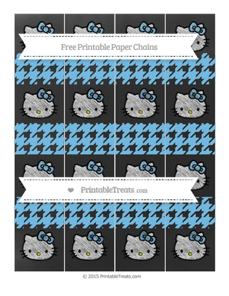 Free Pastel Light Blue Houndstooth Pattern Chalk Style Hello Kitty Paper Chains