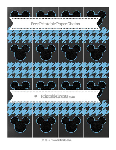 Free Pastel Light Blue Houndstooth Pattern Chalk Style Mickey Mouse Paper Chains