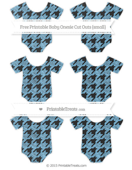 Free Pastel Light Blue Houndstooth Pattern Chalk Style Small Baby Onesie Cut Outs