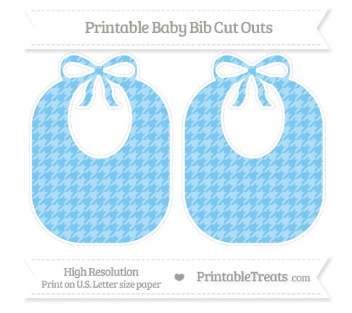 Free Pastel Light Blue Houndstooth Pattern Large Baby Bib Cut Outs
