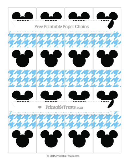 Free Pastel Light Blue Houndstooth Pattern Mickey Mouse Paper Chains